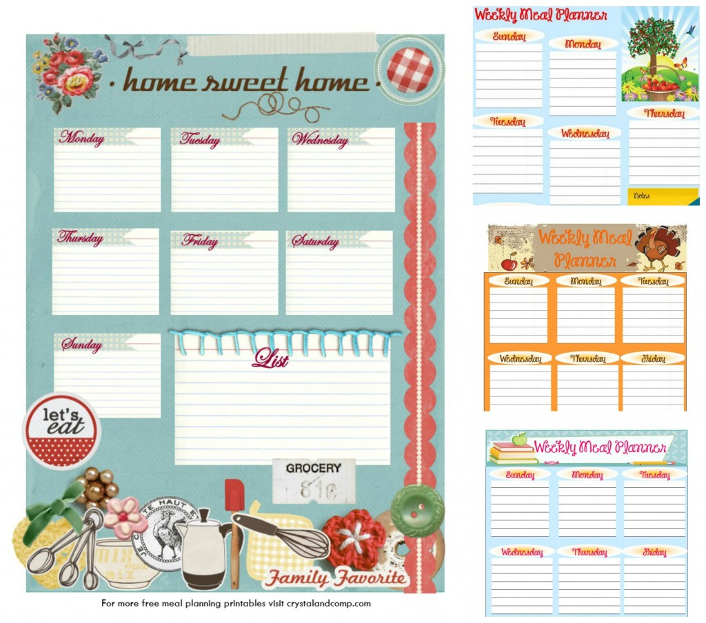 free printable meal planner themes for the entire year