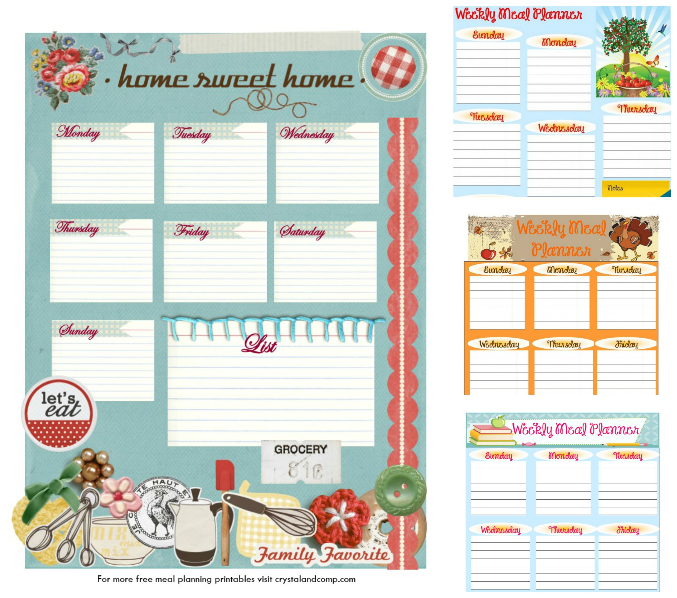 photo about Meal Planning Printable titled Cost-free Printable Dinner Designs