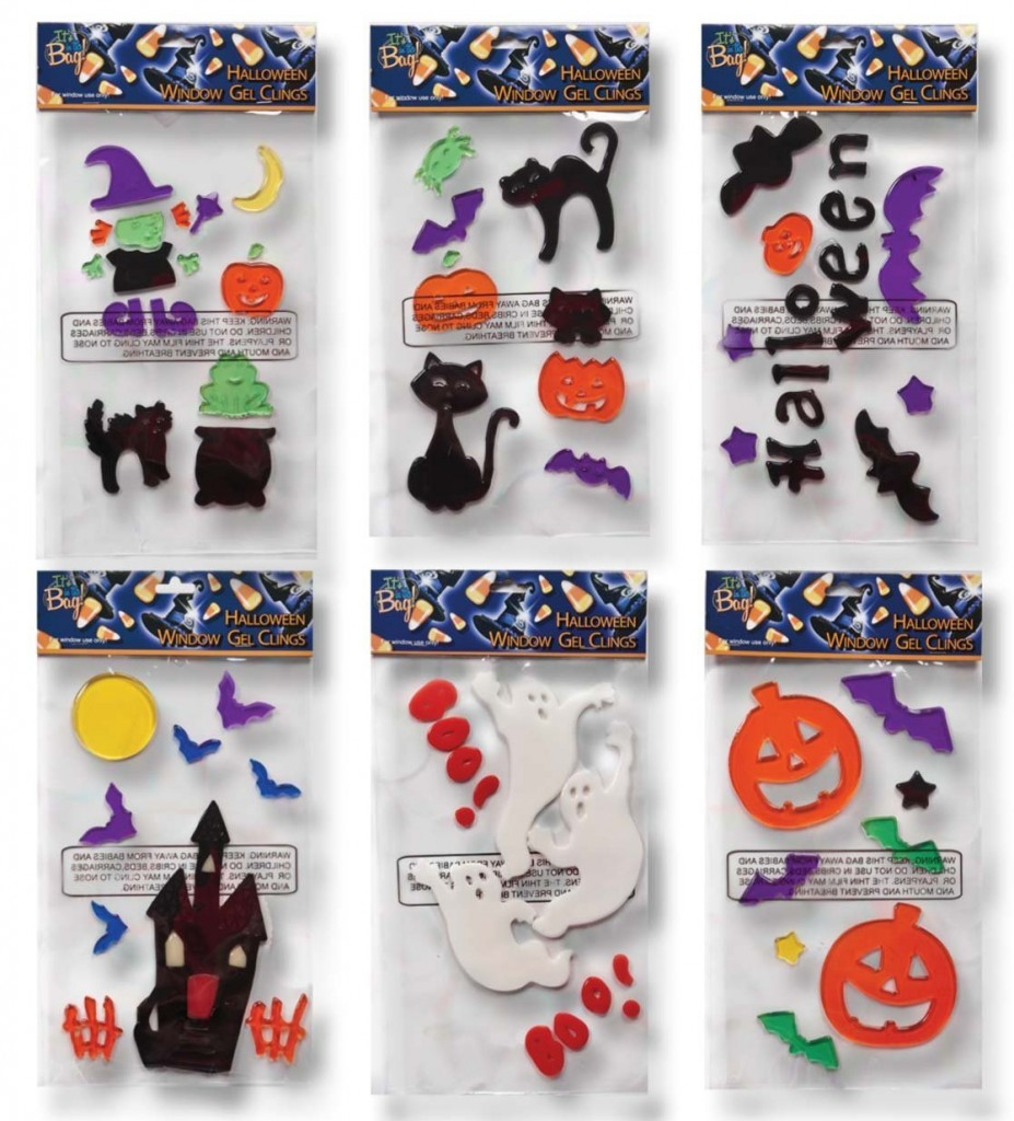 6 Halloween Window Gel Clings Pumpkins Bats Ghosts