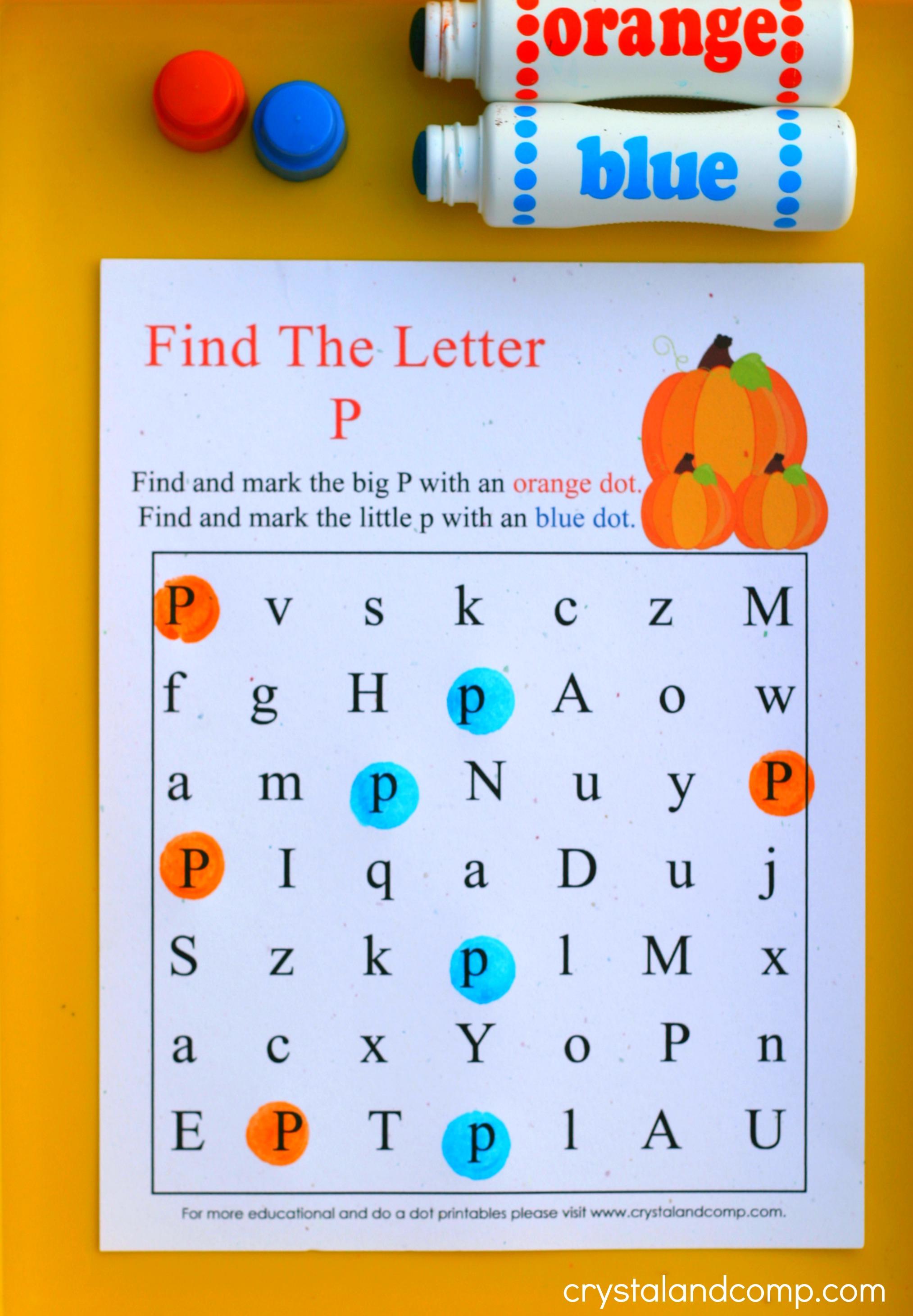 Pumpkin do a dot printables for Letter p preschool crafts