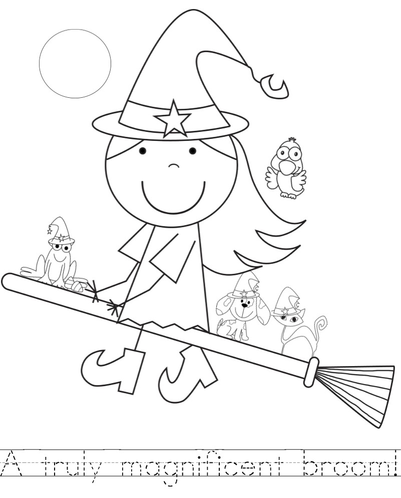 full moon coloring sheet for room on the broom