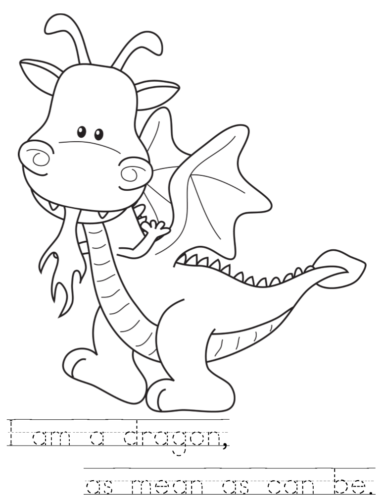 room on the broom dragon coloring sheet