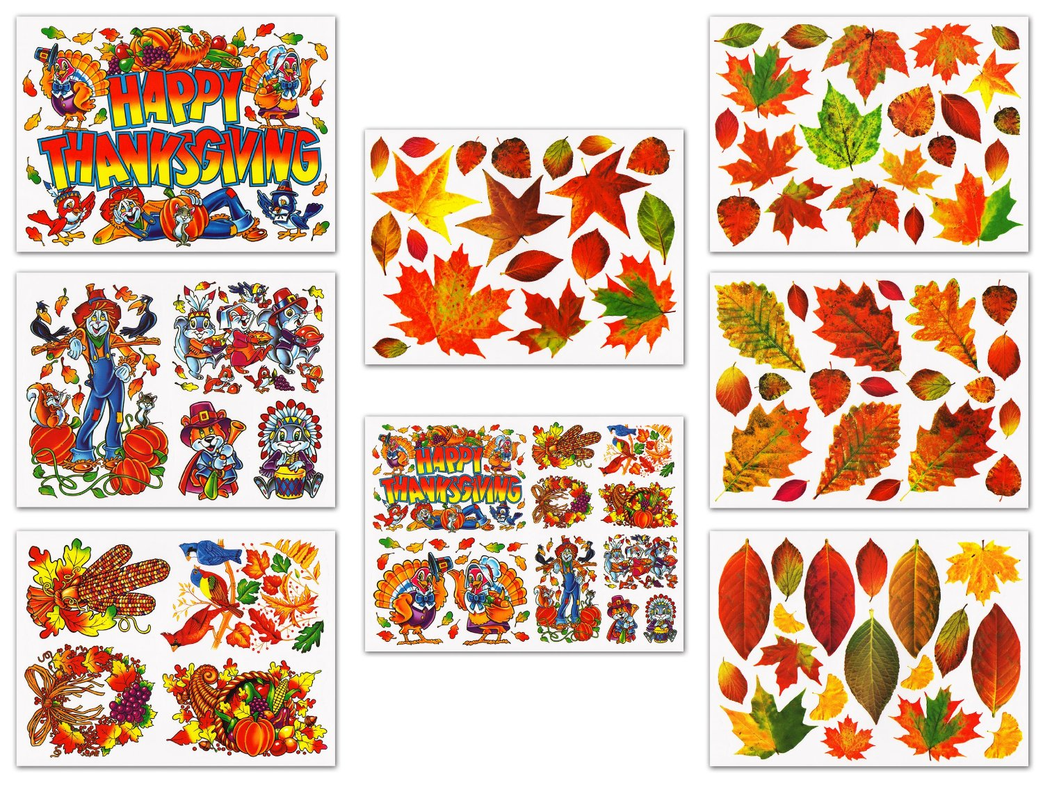 photo about Printable Window Decals identify Thanksgiving and Drop Leaves Window Clings Decals