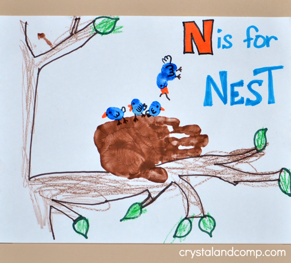 N is for Nest Hand Print Art