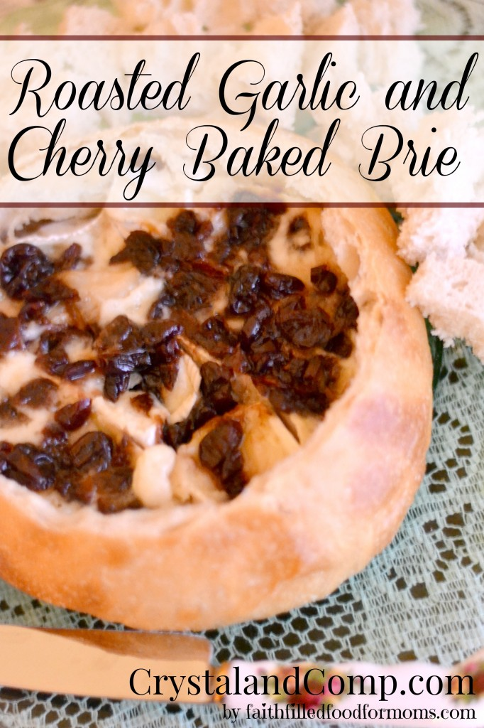 Roasted Garlic and Cherry Baked Brie
