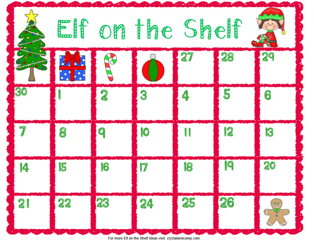 elf on the shelf printables calendar planner