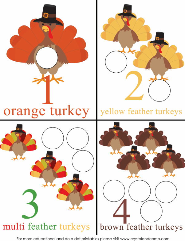 count how many turkeys there are using your do a dot markers