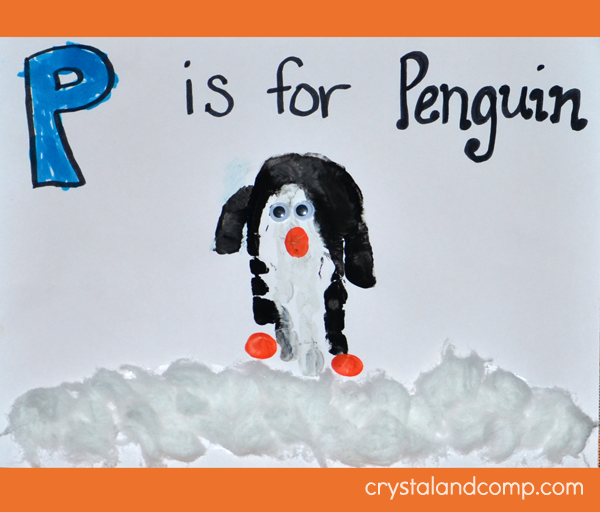 Hand Print Art - P is for Penguin