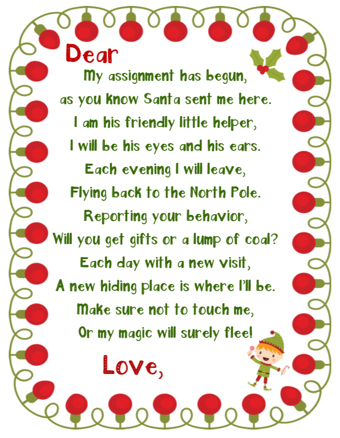 elf on the shelf printable welcome note boy
