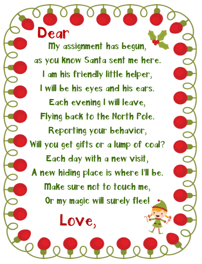 elf on the shelf printable welcome note girl