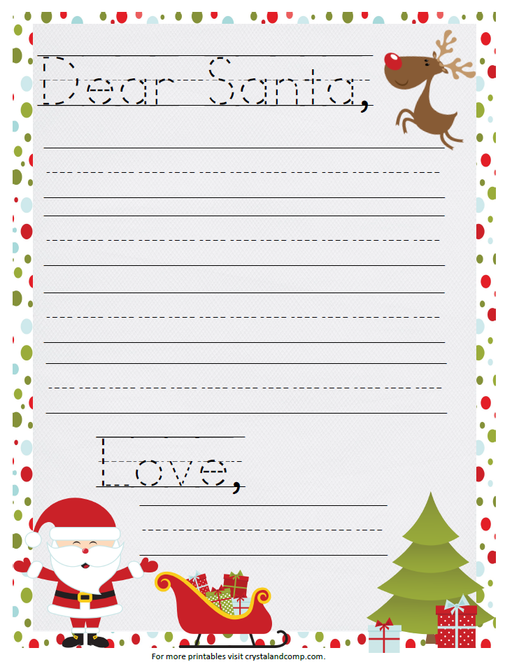 Printable santa letter for Dear santa template kindergarten letter