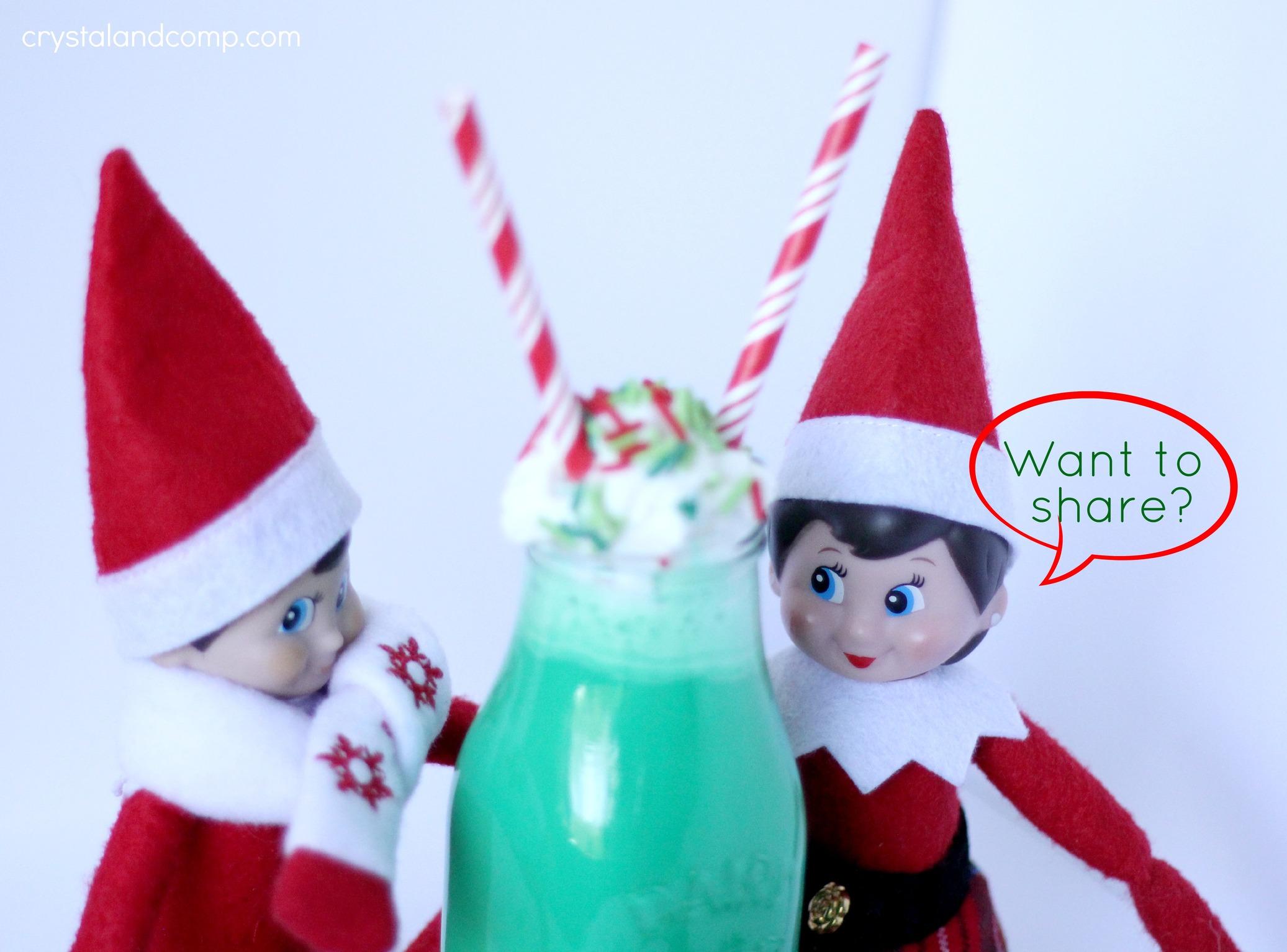 elf on the shelf ideas green colored milk