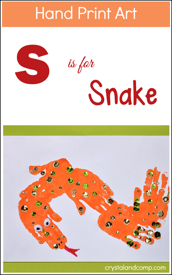 Hand Print Art S is for Snake