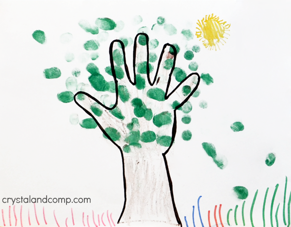 t is for tree hand print