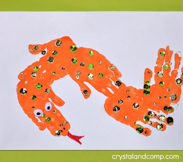 Hand Print Snake Letter S Craft