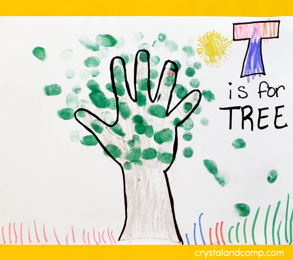 T is for Tree Hand Print Art