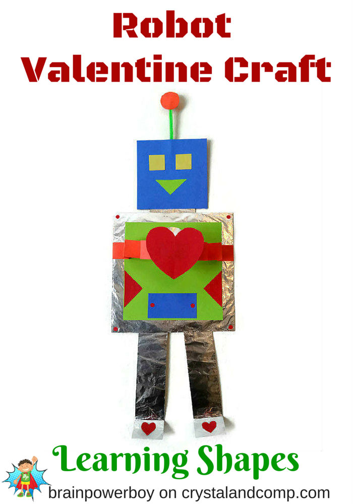 Learn shapes with this easy to make Robot Valentine Craft