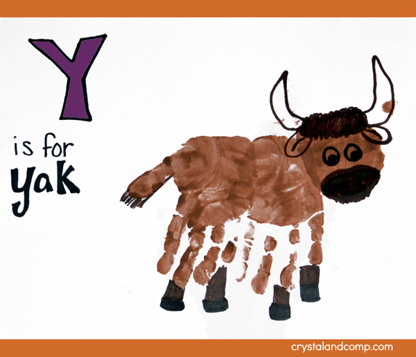 Hand Print Art: Y is for Yak