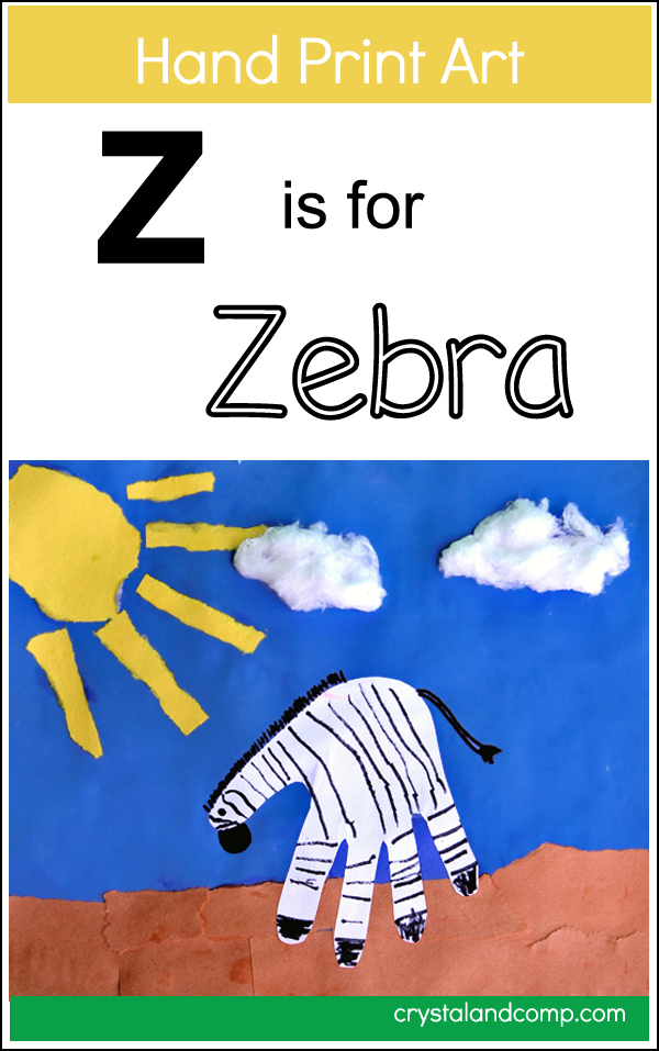 Hand Print Art: Z is for Zebra