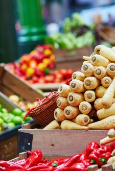 Fresh healthy bio parsnip on London farmer agricultural market