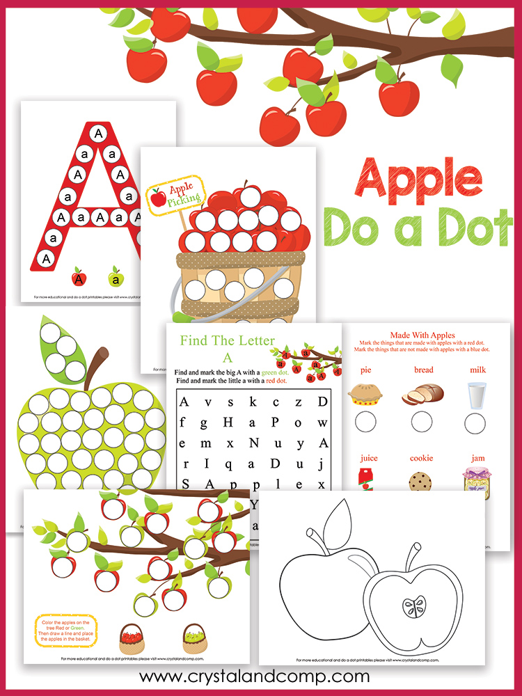 preschool do a dot printables a is for apple. Black Bedroom Furniture Sets. Home Design Ideas