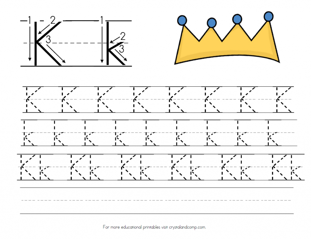 is for King Handwriting Practice Printable