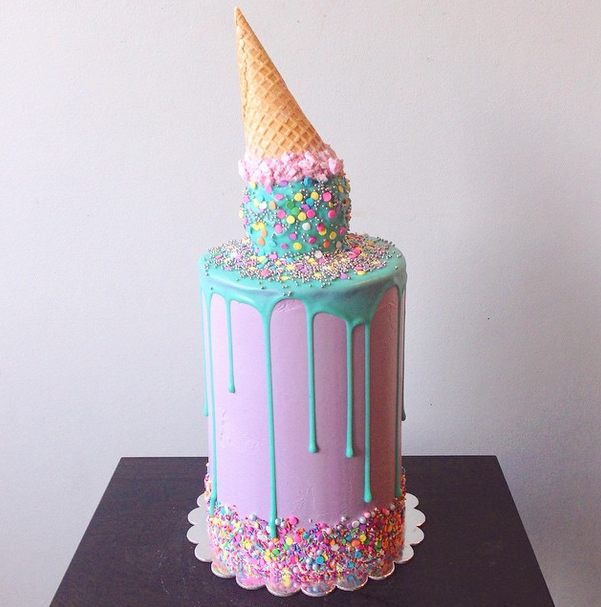 Drippy Ice Cream Birthday Cake Idea 10