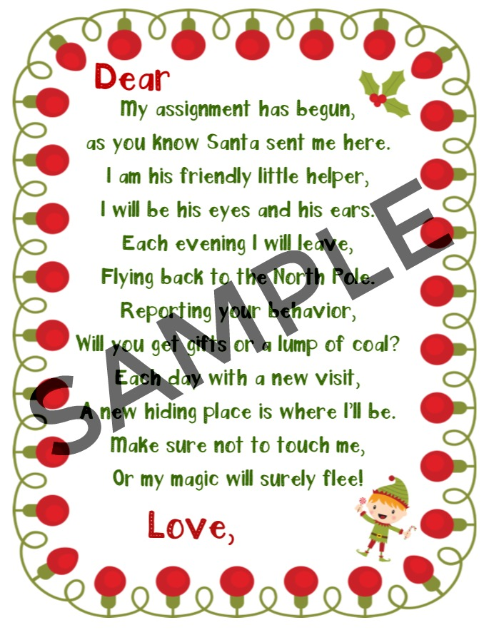 sample image elf on the shelf printable welcome