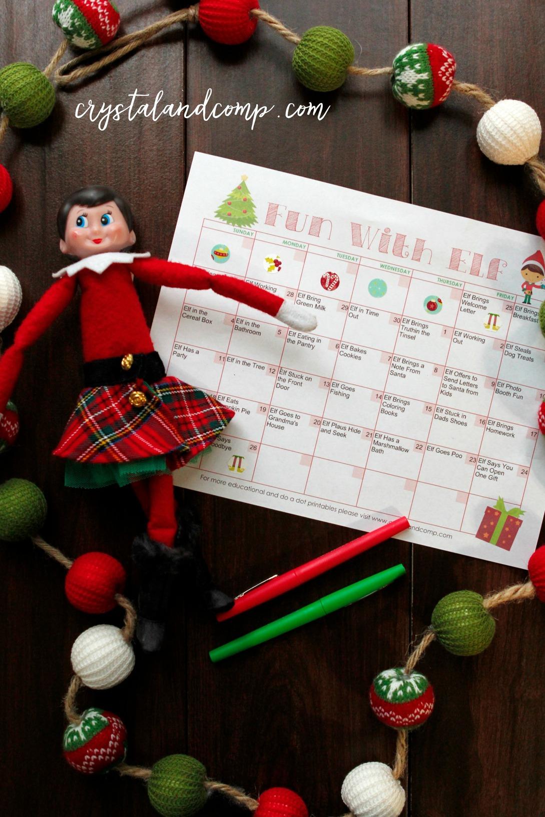 picture regarding Elf Printable called Elf upon the Shelf Printable Creating Calendar
