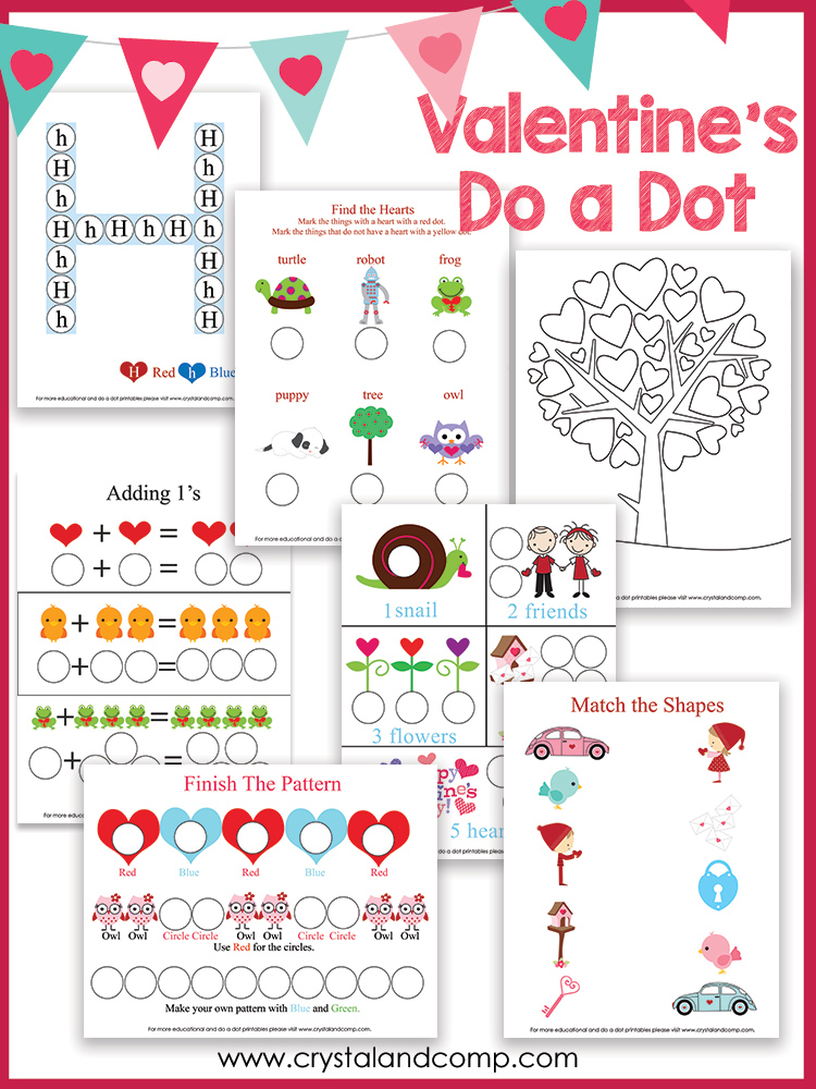Heart Shaped Do a Dot Printables – Valentine Worksheets for Preschool