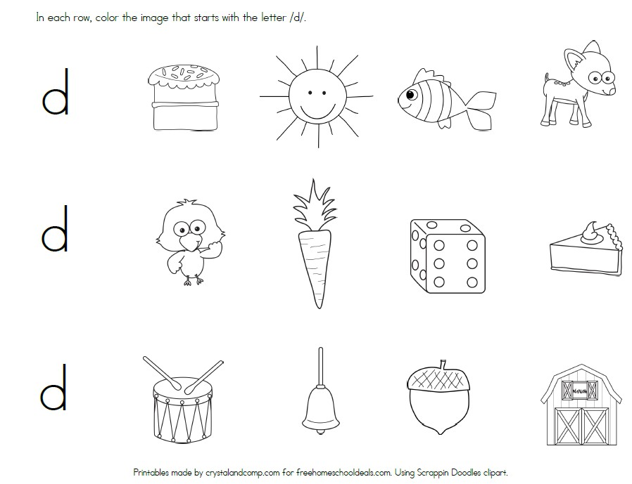 Free Letter D Worksheets (Instant Download) | Free Homeschool Deals ©