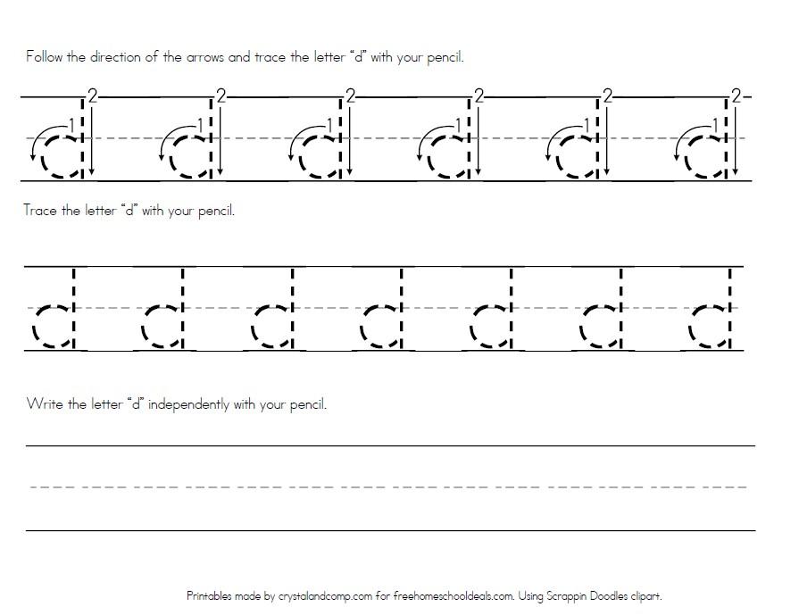 Letter D Tracing Worksheets.Free Letter D Worksheets Instant Download