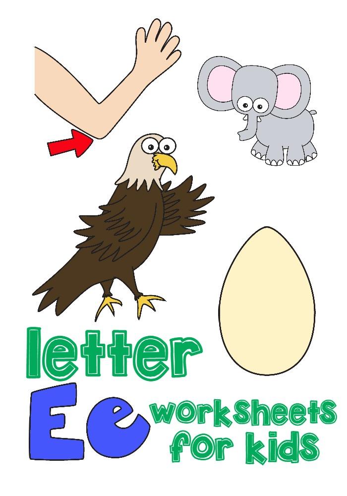 letter e worksheets for kids