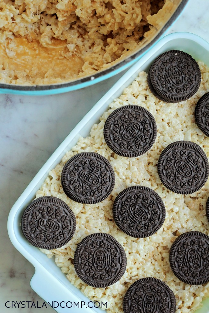 oreo cookies inside rice krispie treats