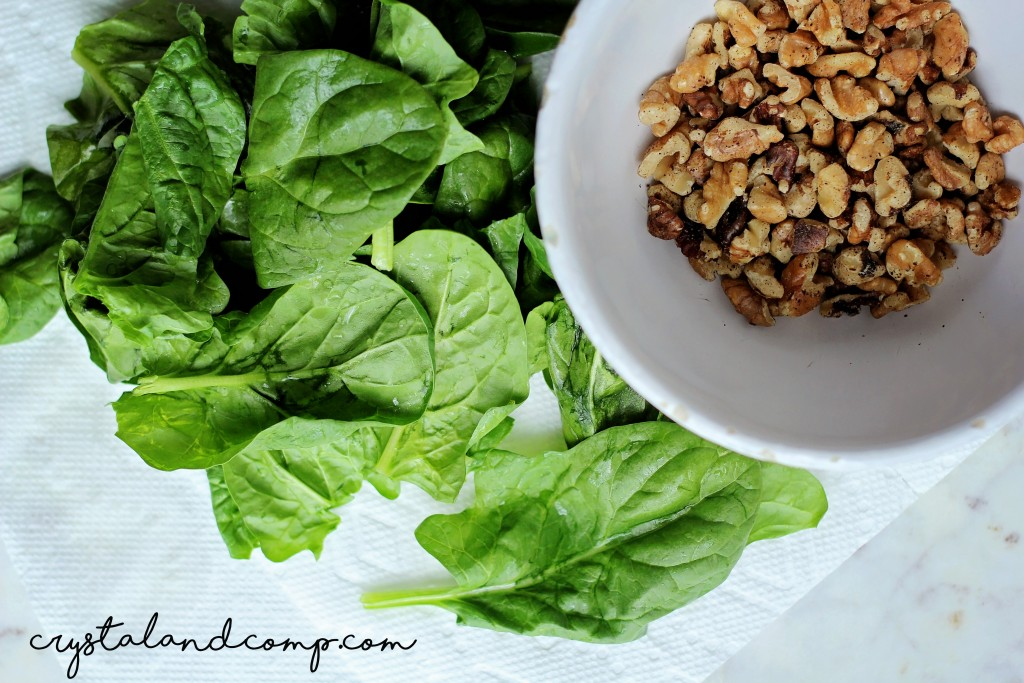 spinach and roasted walnuts
