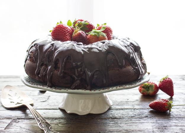 glazed dark chocolate bundt cake
