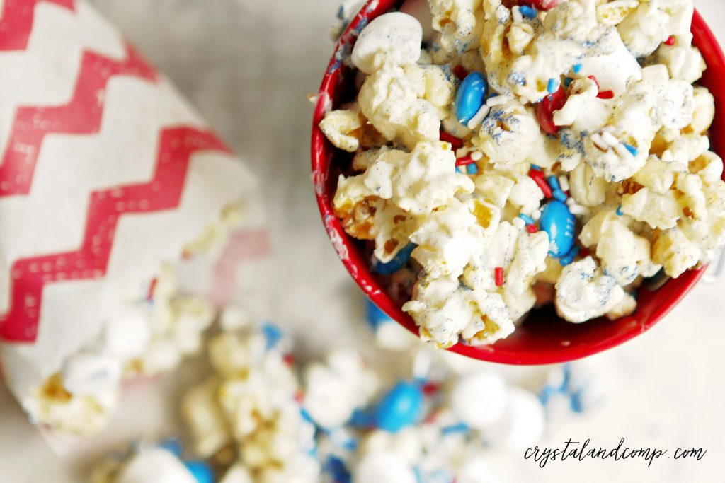 how to make red white and blue popcorn