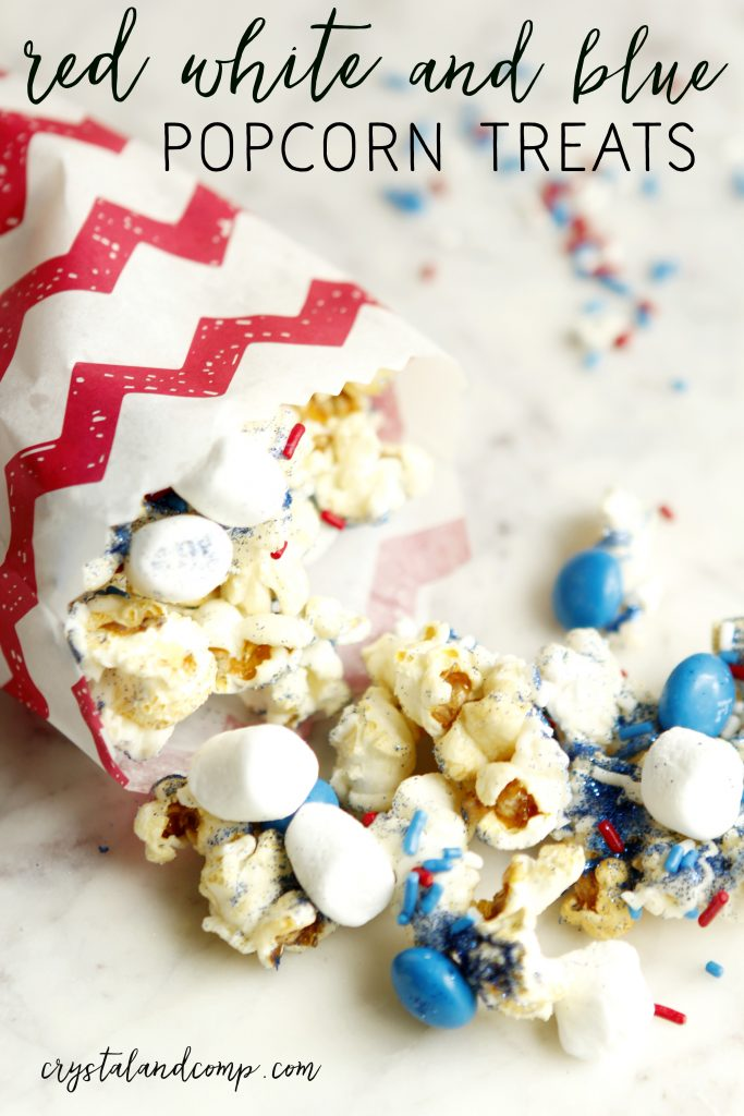 red white and blue popcorn treats