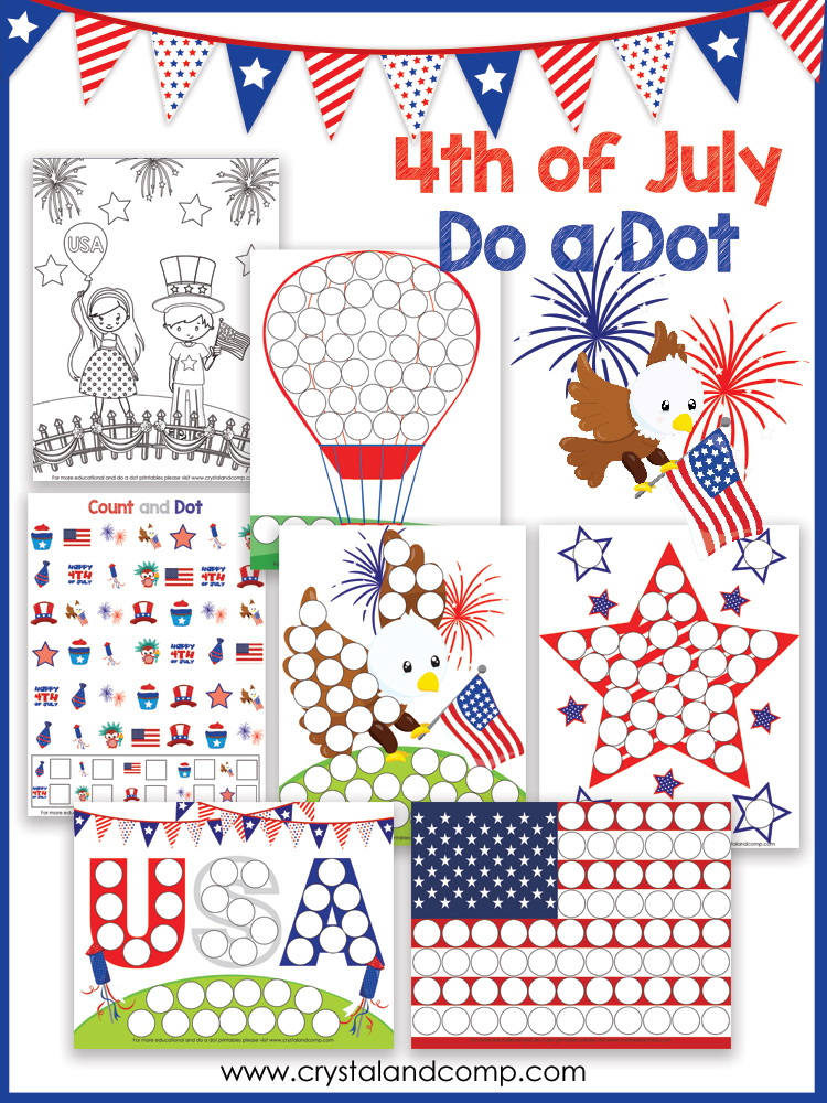 4th of July Preschool Do a Dot Printable