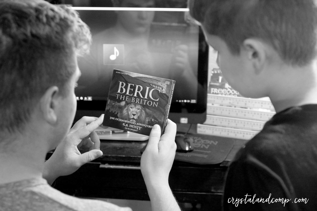 anthony and luke listening to audio books black and white