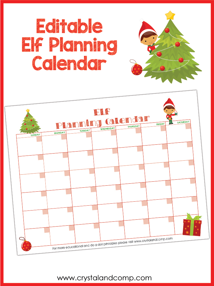 Elf On The Shelf Printable Planning Calendar
