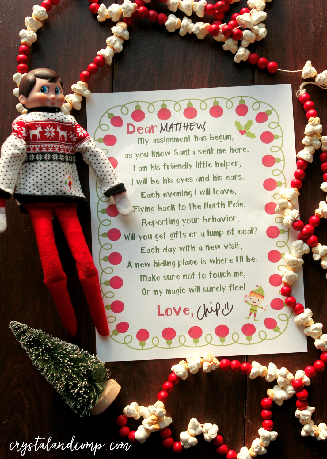 Elf on the Shelf Printables Wel e Letter