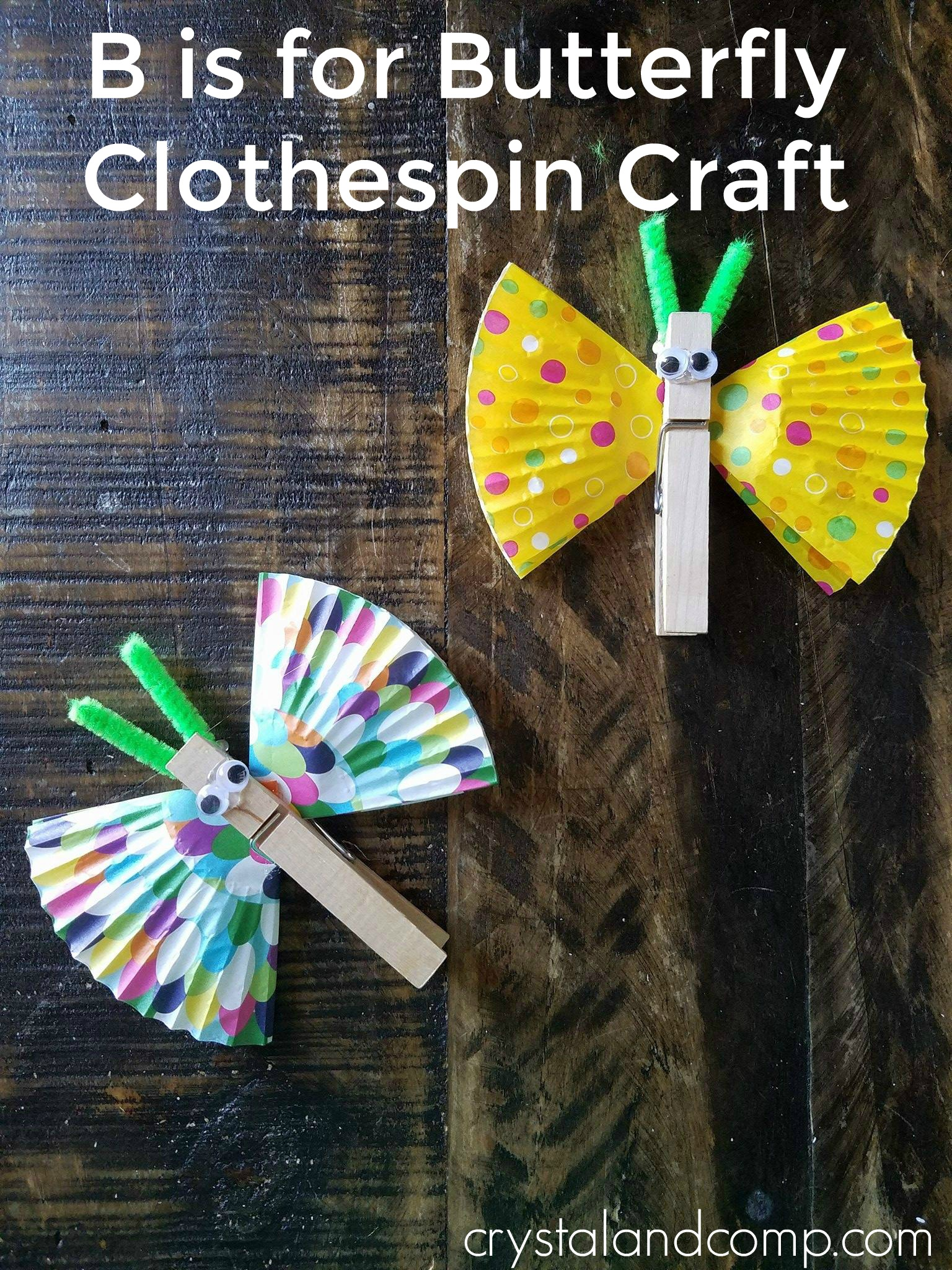 craft butterfly crafts letter preschool preschoolers clothespin activities toddler crystalandcomp fun learning toddlers easy homespun mom alphabet supplies visit need
