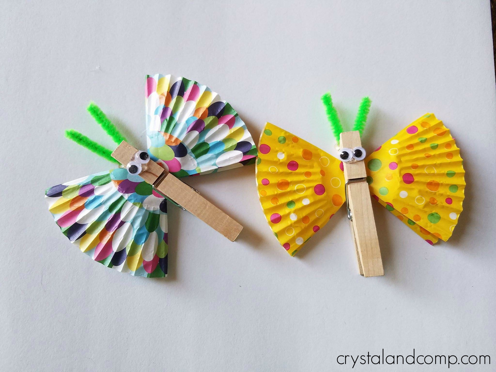 B is for butterfly craft for Close pin crafts