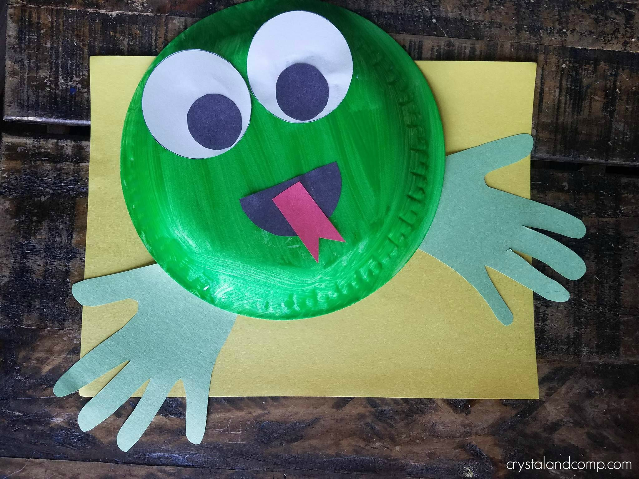 Glue the eyes to the top of your paper plate and assemble the mouth too! Attach your hand print cutouts to the back side for your froggyu0027s feet! & F is for Frog Craft