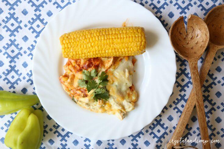 Crockpot Chicken Enchilada Casserole
