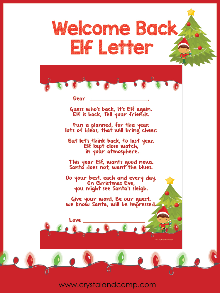 need a welcome back letter for your elf