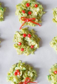 No Bake Christmas Wreath Cookies