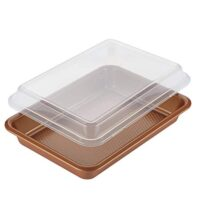 "Ayesha Curry 47004 Bakeware Covered Rectangle Cake Pan, 9"" x 13"", Copper"
