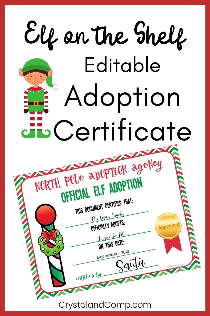Elf On The Shelf Adoption Certificate Crystalandcomp Com